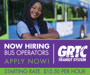 Photo of bus operator with text: Now Hiring Bus Operators Apply Now!