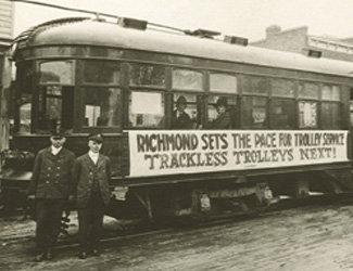 Historic photo of the trackless trolleys in Richmond